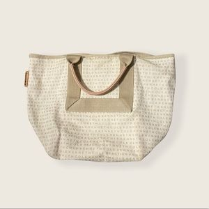 Kenneth Cole Reaction Logo Tote Bag Cream Brown